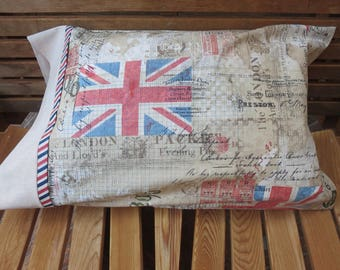 Union Jack Pillowcase - British Themed / England Pillowcase / U.K - Tim Holtz Fabric