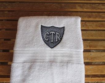 CTR Applique Towel  - Blue Hash Fabric