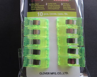 Clover Wonder Clips - 10 Pack - New  Color - Neon Green! 3180