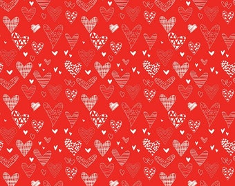 Riley Blake - From the Heart Hearts Red C10051- Fabric - Sandy Gervais