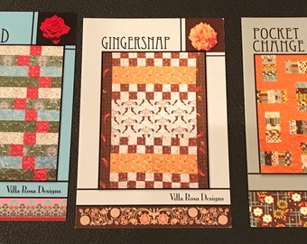 Three Villa Rosa Designs Quilt Patterns - Olympiad - Gingersnap And Pocket Change