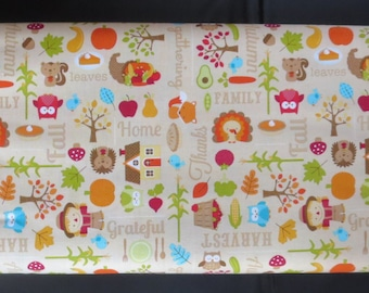 Riley Blake - Happy Harvest Main Brown Fabric - 1.5 Yards