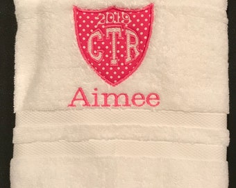 Personalized CTR White Towel With Pink Applique 2019