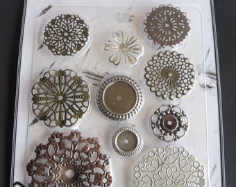 "Sunrise Sunset Mechanicals Metal Vintage Trinkets Flowers Small- Various Sizes Starting At 1""- 10 /Pkg - Steampunk"