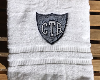 CTR Applique Towel  - Blue Hash Fabric