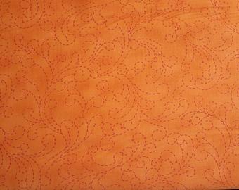Rare Find!  End of Bolt 1 Yard 15 Inches - Moda - Bobbins And Bits - Tangy Orange Stitching Swirls