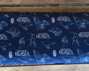 Fantastic Beasts / -Camelot Fabrics - Wizarding World 23900102L Silver on Navy