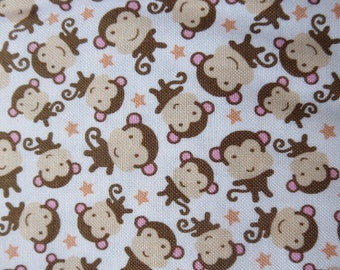 One Week Special 7.99 A Yard - Riley Blake - Sweet Baby Girl - C4295 - Monkeys White