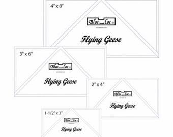 "Bloc Loc FG Set 1  - One Remaining - Flying Geese Ruler - Set 1  -  1-1/2"" x 3"", 2"" x 4"", 3"" x 6"", and 4"" x 8"""