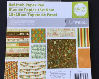 """American Crafts Hall Pass Paper Pad - 6""""x 6"""" - 18 Sheets - Double Sided"""