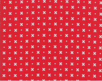 Little Snippets - Bonnie and Camille Fabric - 5518311 -   Floral Stitch Red