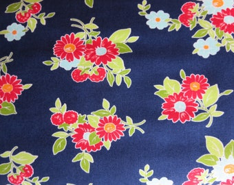End of bolt 1 yard The Good Life Fabric -  Bonnie And Camille Floral Summer Dark Blue - 55151 16 -