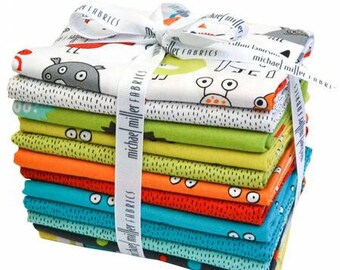 Bundle I Want A Monster Fat Quarter Bundle 12 Pieces FQ-0169 - by Elise Gravel Collection For Michael Miller - Bright Collection