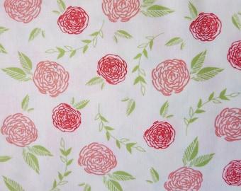 Creekside Coral on Ivory Roses Yardage  SKU# 37531-12 Sherri & Chelsi for Moda Fabrics