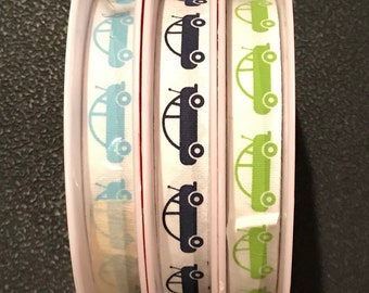One Week Sale - Riley Blake Designs Cotton Tape Ribbon - Cars  3 Spools Each With 25 yards