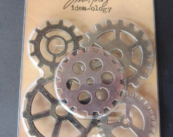 "Steampunk - Tim Holtz Idea-ology -  Metal Gadget Gears 1.5"" To 2"" 5/Pkg - TH93297"