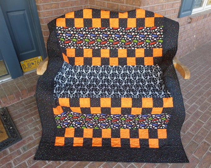 Featured listing image: Homemade Halloween Quilt - Glow In The Dark Skeletons and Polka Dots