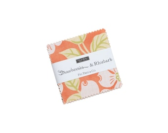 In Stock - Fig Tree Fabric - Strawberries &  Rhubarb  Mini Charm Pack