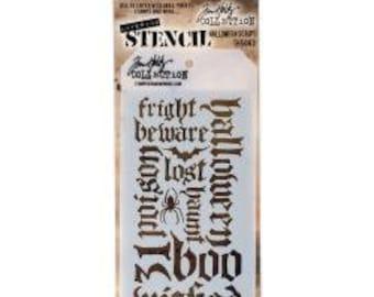 Tim Holtz Layering Stencil - Halloween Script Layering Stencil - THS063