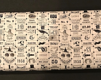 Riley Blake - Costume Maker's Ball Ticket Grid Cream - Halloween Fabric One Week Special - U.S 7.99 A Yard