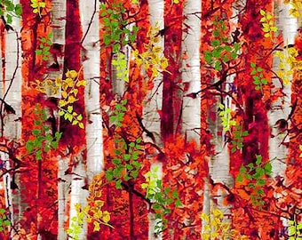 Timeless Treasures -  C7768 Electric Birch Trees and Foliage Nature Collection - Multi