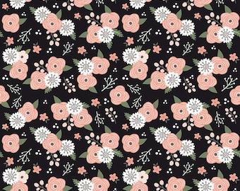 Riley Blake - Modern Farmhouse Black C9461 - Farmhouse Floral Sparkle