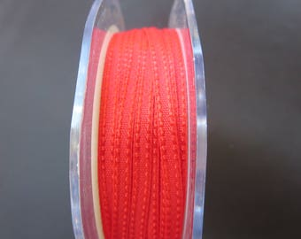 50 Yards - 1/8 Inch Woven Stitched Edge Ribbon - Red