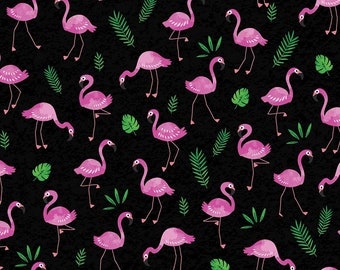 Tropical Breeze Black Flamingo Frenzy Fabric 09718-12 from Kanvas