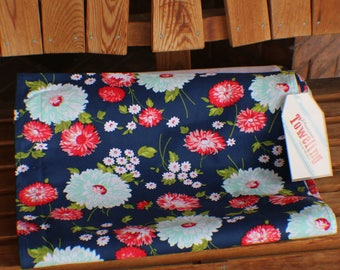 "NEW Bonnie And Camille Toweling - 16"" The Good Life Navy Flowers 920 270 Moda Toweling"
