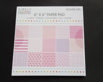 "Simply Creative Flower Girl Paper Pad - 6""x 6"" - 30 Sheets - 15 Designs"