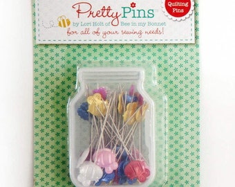 Lori Holt - Pretty Pins - 60 Quilting  Pins - 0.7mm  x 45mm Assorted Colors