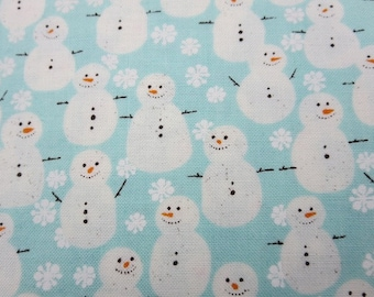 End of Bolt 1 Yard - Aspen Frost Iced Aqua - Snowmen
