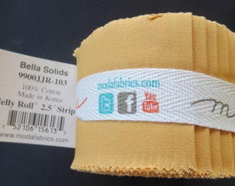 Bella Solids Junior Jelly Roll - 9900JJR 103 Moda Golden Wheat