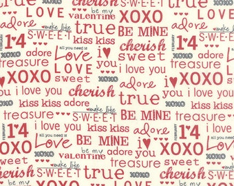 Moda -First Crush Fabric - 5607 13 - Sweetwater Seasonal Valentines XOXO Natural