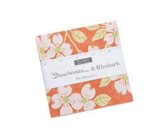 In Stock - Fig Tree Fabric - Strawberries &  Rhubarb Charm Pack