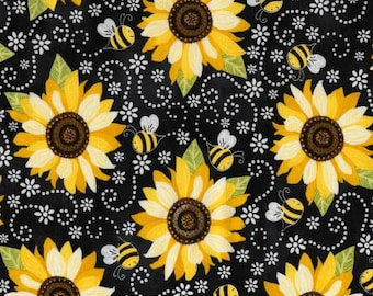 Timeless Treasures -Black Sunflower With Bees - You are my Sunshine Collection  Fabric C5345