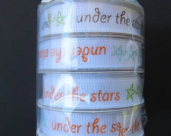4 Spools Of American Craft Ribbon - 4 Feet On Each Spool - Under The Stars Grosgrain Ribbon