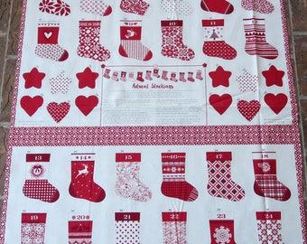 Kate Spain Merry Merry - Moda  27270 13  -  Kate Spain Seasonal Christmas Advent Stockings Panel Red