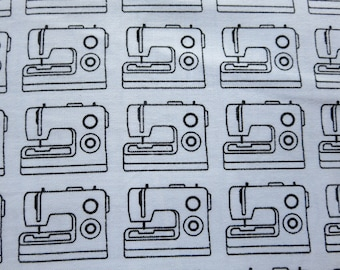 Studio E My Happy Place - 388099 - Sewing Machine Fabric - White With Black Sewing Machine
