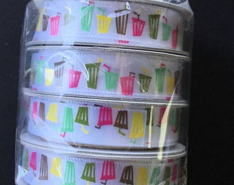 4 Spools Of American Craft Ribbon - 4 Feet On Each Spool - Cups With Straws