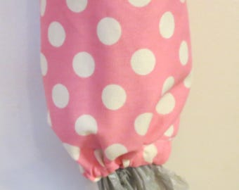 Homemade Grocery Bag Holder / Carrier Bag Storage / Plastic Bag Storage - Pink With Dots