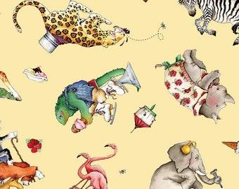 Riley Blake - Hungry Animal Alphabet Animal Toss Yellow C10182