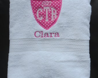 Personalized CTR White Towel With Pink Applique 2018