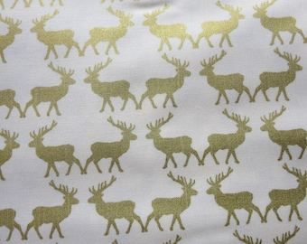 Postcards for Santa Gold Sparkle Deer Fabric - Riley Blake