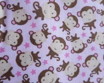 One Week Special - Riley Blake - Sweet Baby Girl - C4295 - Monkeys Pink 7.99 A Yard