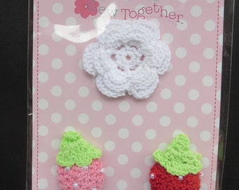 Cyber Special - Sew Together Crocheted Flower and 2 Strawberries