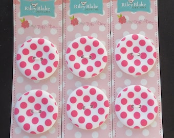 "Riley Blake Sew Together 1.5 "" Matte Round Dot Buttons - Hot Pink"