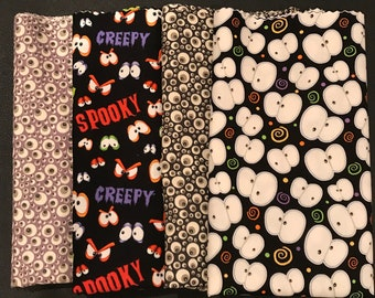 Half Yard / Yard  Bundle Of Halloween Spooky Eyes - Four Fabrics And One Is Glow In The Dark!