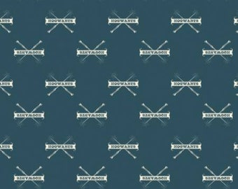 End Of Bolt 25 Inches Teal Hogwarts & Wands Harry Potter -  Camelot Fabrics