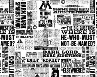 Harry Potter Fabric- White News Print- Camelot- Wizarding World- Harry Potter- J.K. Rowling's Collection- 23800120-1